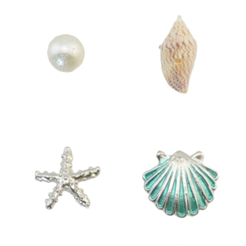 E-4287 4Pcs/Set Fashion 2Colors Conch scallop pearl starfish Stud Earrings Eomen Party Jewelry