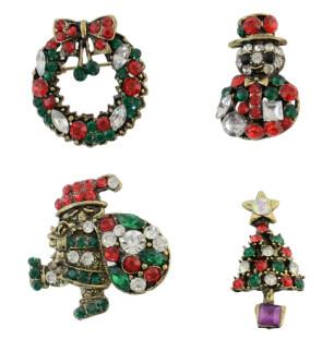 P-0377 Vintage 2pcs/set Christmas Gift  Santa Claus Christmas tree Snowman wreath Brooch Pin