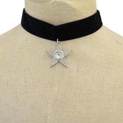 N-6926 Fashion Gothic Five-star Shaped Water Droplets Crystal Black Velvet  Choker Necklace For Women