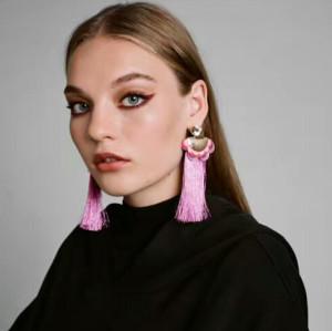 E-4293 6 Colors Vintage Bohemian Flower Tassel Drop Earring for Women Earring