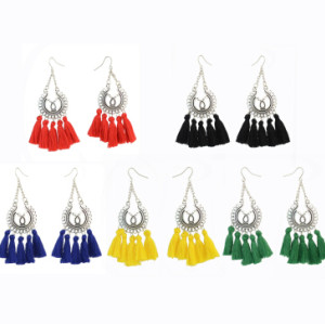 E-4292 Vintage Silver Metal Thread Tassel Long Drop Earrings for Women Bohemian Wedding Party Jewelry