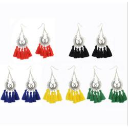 E-4292 Vintage Silver Metal Thread Tassel Long Drop Earrings for Women Bohemian Wedding Party Jewelry