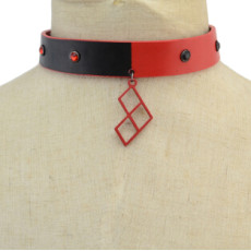 N-6928 Fashion Choker Necklaces Geometric Triangle Leather Necklace  for Women Jewelry