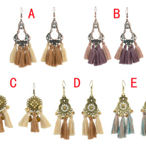 E-4296 Vintage Bohemian Silver Metal Thread Tassel  Drop Earrings for Women Party Jewelry