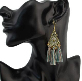E-4296 Vintage Bohemian Silver Metal Thread Tassel  Drop Earrings for Women Party Jewelry