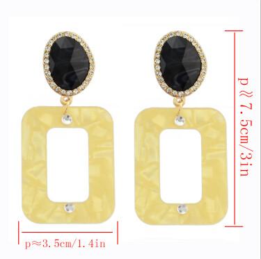 E-4297 6 Colors Bohemian Rectangle Rhinestone Acrylic Drop Earrings for Women Wedding Party Fashion Accessories