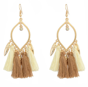 E-4295-BR Bohemian Metal Thread Tassel Long Drop Pom Earrings for Women Party Jewelry