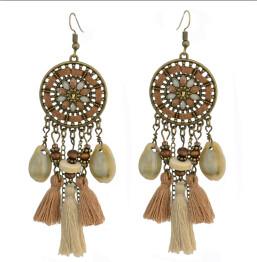 E-4294 2 style Vintage Bohemian  Bead Tassel Drop Earring for Women Earring