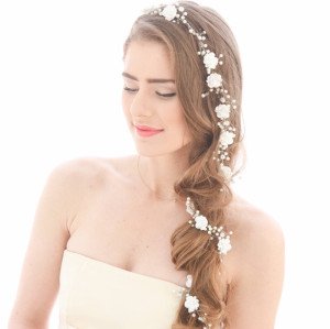 F-0461 Elegant Pearl Flower Shape Headbands for Bridal Wedding Party Hair Jewelry Accessories