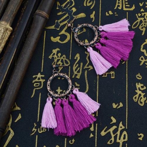E-4301 Vintage Tassel  Charm  Drop Pom  Earring for Women Jewelry