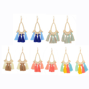E-4304 Fashion Vintage Bohemian Tassel Bead Earring for Women Jewelry