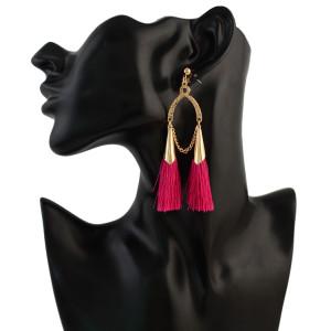 E-4306 6 Color Vintage Tassel  Charm  Drop Pom  Earring for Women Jewelry