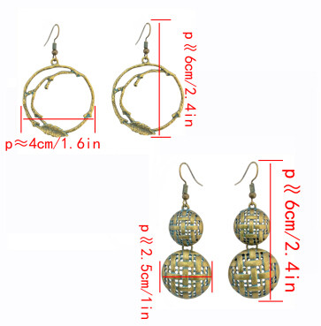 E-4300 Retro Vintage Round Branches Shape Drop Earrings for Women Bohemian Wedding Party Jewelry