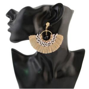 E-4299 Bohemian Vintage  Tassel Fan-shaped Earrings for Women Jewelry