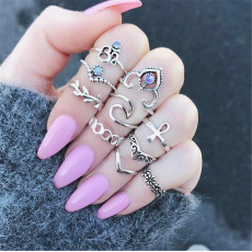 R-1486 2 Styles Bohemian Vintage Silver plated Knuckle Nail Midi Finger Crystal Ring for Women Jewelry