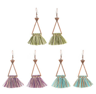 E-4308 3 colors  Vintage Bohemian Thread Tassel Drop Earring for Women Earring