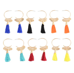 E-4309 6 Colors New Arrive Hook Dangle Tassel Coin Enamel Earring for Women Jewelry