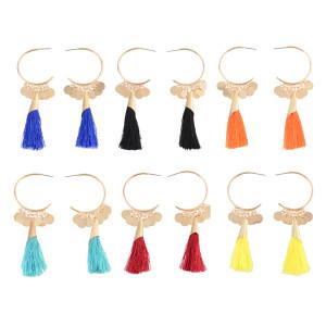 E-4309 6 Colors New Arrive Hook Dangle Tassel Coin Enamel Earring for Women Jewelry