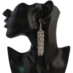 E-4311 Fashion Women Silver Metal Long Tassel Statement Drop Earrings for Bohemian Wedding Party Jewelry