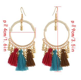 E-4314 Vintage Tassel  Charm  Drop Pom  Earring for Women Jewelry