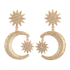 E-4312 Charming Gold Plated Moon And Sun Shape Rhinestone Dangle Earrings