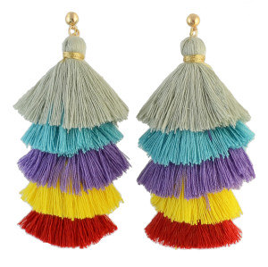 E-4316 2 styles Fashion Bohemian Vintage Stud Tassel Colorful Earring for Women Jewelry