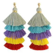 E-4316 2 styles Fashion Bohemian Vintage Stud Tassel Colorful Earring for Women Jewelry