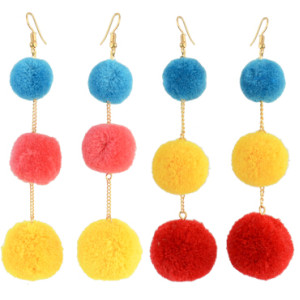 E-4315 Fashion Bohemian Colorful Pom Pom Long Drop Earrings for Women Party Jewelry Accessories