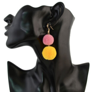 E-4317 Fashion Bohemian Colorful Pom Pom Long Drop Earrings for Women Party Jewelry Accessories