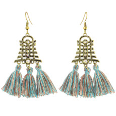 E-4320 8 Colors Bronze Plated Alloy thread Crystal Rhinestone Drop Dangle Earrings Jewelry