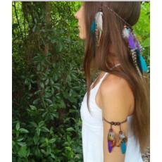 B-0863 Bohemian Feather Pendant Leather Arm Chain Armlet Charm Bracelets for Women Fashion Jewelry
