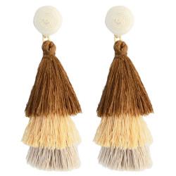 E-4325 4 Colors Fashion Gold Plated Thread Tassel Earrings Women Jewelry