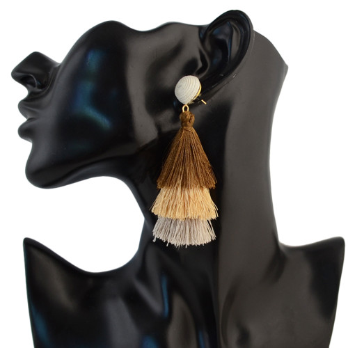 E-4325 4 Colors Fashion Gold Plated Thread Tassel Earrings Women Jewelry