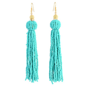 E-4326 Fashion Gold Plated Rhinestone Beaded Ball Tassel Earrings