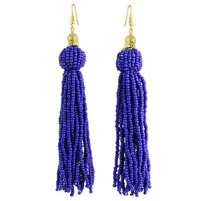 E-4326 Fashion Gold Plated Rhinestone Beaded Ball Tassel Earrings