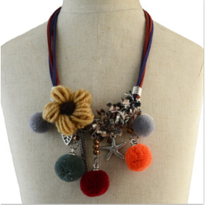 N-6931 Fashion Multilayer Pom Pom Ball Pendant Flower Shape Necklaces for Women Bohemian Party Jewelry