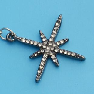 E-4321 Charming Silver Plated Starfish Shape Rhinestone Dangle Earrings