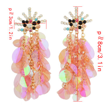 E-4327 7 Colors Sequins Long Earrings Fashion Rhinestone Statement Jewelry Tassel Earrings for Women Wedding Accessories