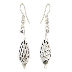 E-4322 Vintage Silver Hollow Out Bottle Shape Fish Hook Dangle Earrings