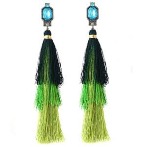 E-4332 Fashion Jewelry Gun Black Crystal Long Silk Thread Tassel Dangle Earrings