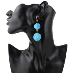 E-4330 4 Colors Fashion Gold Metal Beads Statement Ball Drop Earrings for Women Bohemian Party Jewelry