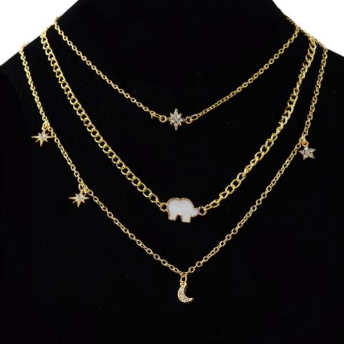 N-6934 New Fashion Gold Silver Plated Rhinestone star moon elephant pendant Necklace