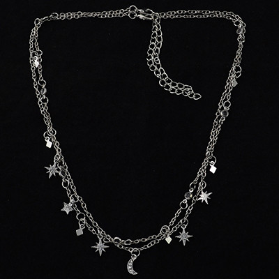 N-6935 Gold Silver Plated 2pieces/set Rhinestone Moon Star Sun Charms Choker Necklaces