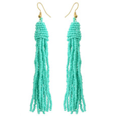 E-4335 5 Colors Bohemian Gold Plated Resin Beaded Statement Drop Earrings