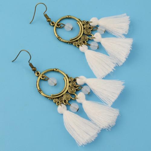 E-4333 New F ashion Jewelry Bronze Plated Alloy Thread Bead Drop Dangle Earrings