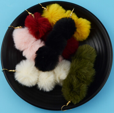 E-4338 6 Colors Fashion Women Pom Pome Drop Earrings Wedding Party Fashion Accessories