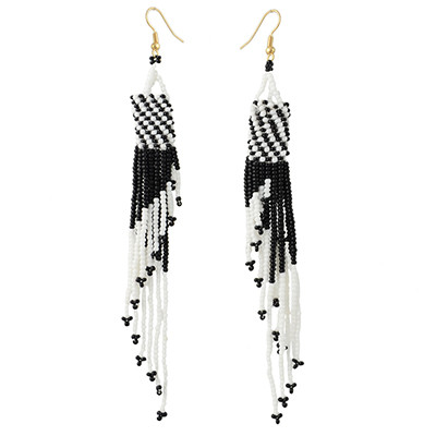 E-4336 5 Colors Fashion Gold Plated Resin Beaded Statement Long Tassel Drop Earrings
