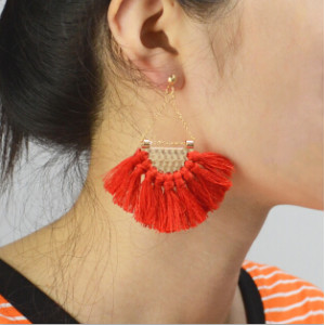 E-4337 Bohemian Vintage Tassel Fan-shaped Earrings for Women Jewelry