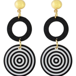 E-4340 Fashion White Black Acrylic Round Drop Earrings for Women Bohemian Party Accessories