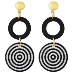 E-4340 Fashion White Black Acrylic Round Drop Earrings for Women Bohemian Party Accessories